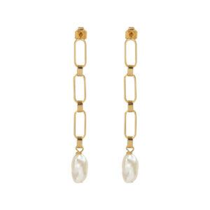 Boucles d'oreille 3 mailles et perles