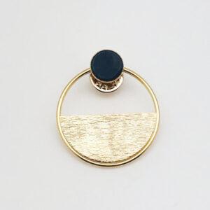 Broche demi lune plaquée or et Agate noire