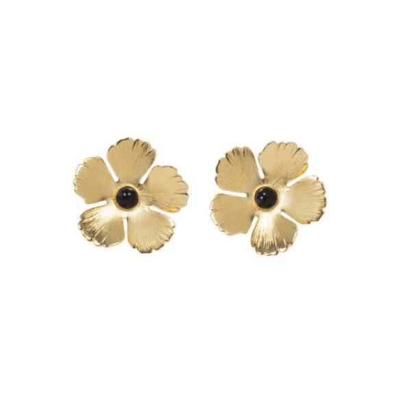 Boucle d'oreille Fleur Agate noire