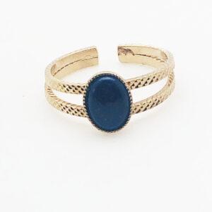 Bague double anneaux et pierre Lapis Lazuli