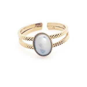 Bague double anneaux et pierre Nacre