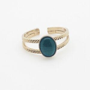 Bague double anneaux et Malachite